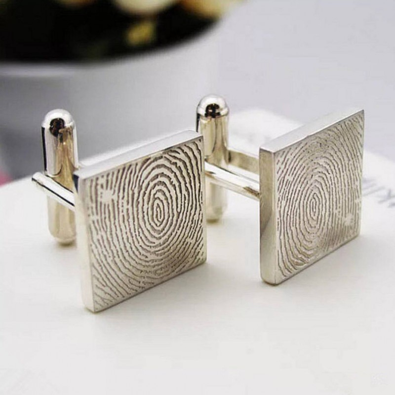 NEW OPEN 20/% OFF:High Quality Man/'s cuff-linkDeep Engraved Fingerprint Cuff-linksPersonal Cuff-links-Sterling silver with gold plated
