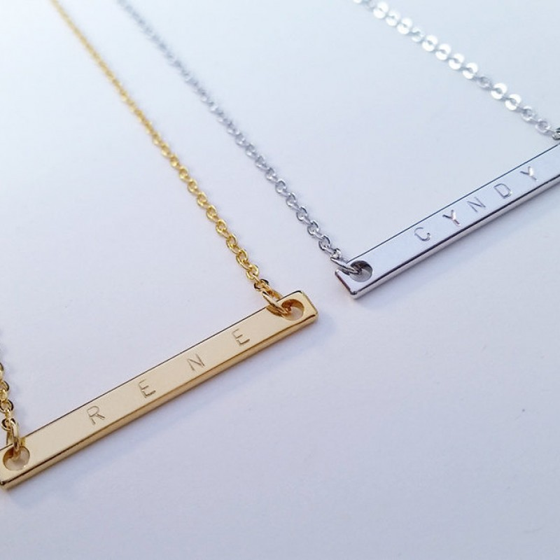 for Engraved Bar Necklaces Stamping Engraving 10 Silver Bar Pendants 50x5