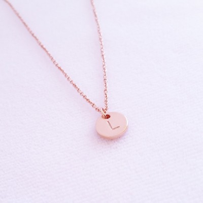 Silver Letter Disc Bridesmaid Gift Christmas Gift Minimalist Necklace Monogram Disc Rose Gold Disc Personalized Initial Charm Necklace
