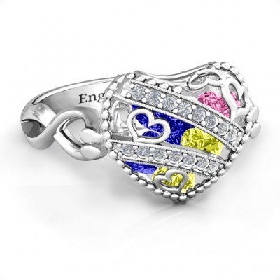 Sparkling Diamond Hearts Caged Hearts Ring with Infinity Band