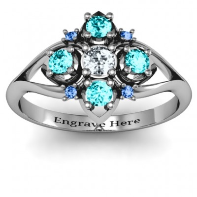 Round Stone  Beehive  Bloom Ring with Acccents