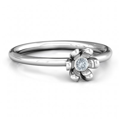 Sterling Silver Stone in 'Magnolia' Ring