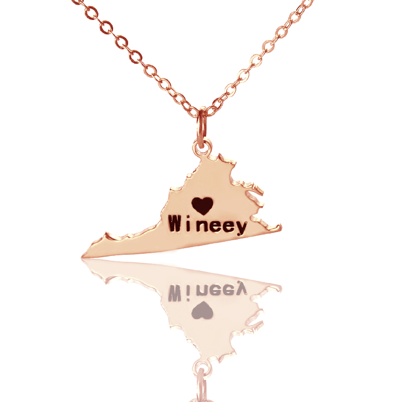 PA State Necklace,Pennsylvania State Necklace,Rose Gold Penn Necklace with A Heart,Pennsylvania Shaped Necklace,Custom Pennsylvania Jewelry