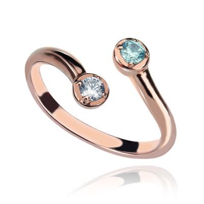 Dual Drops Birthstone Ring