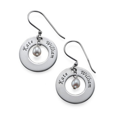 Personalized Earrings with Two Names  Birthstone
